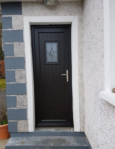 Black glazed T and G pvc door
