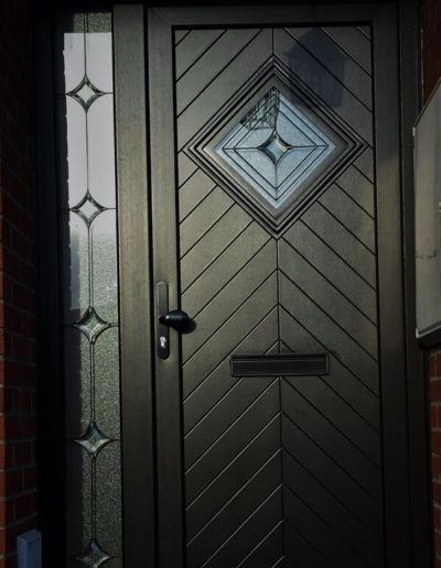 Black pvc Herringbone door with sidelight