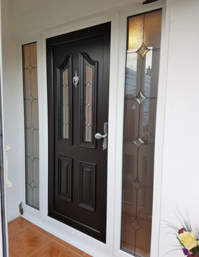 Black pvc door with the sidelights in White (2)