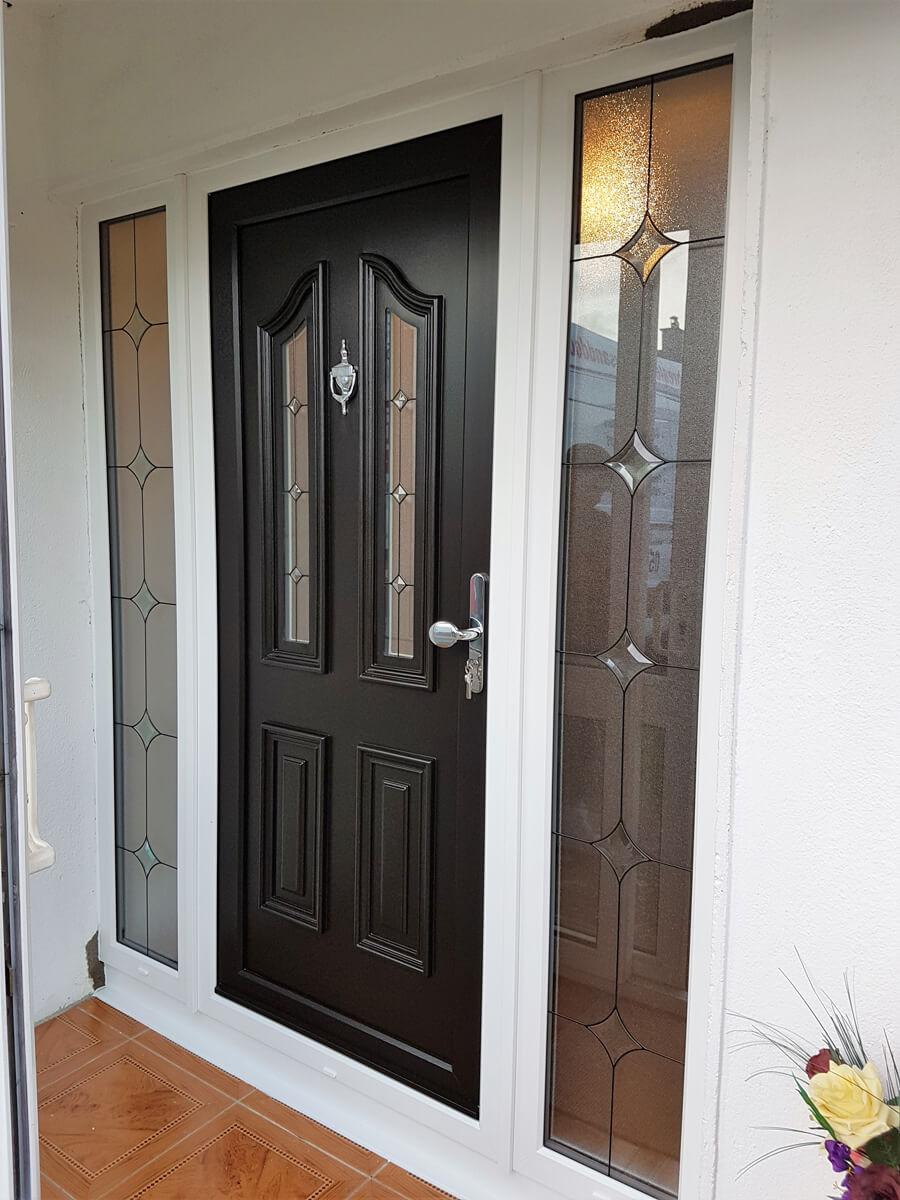 Black pvc door with the sidelights in White (2) & PVC Doors | Brealey Windows \u0026 Doors Ltd
