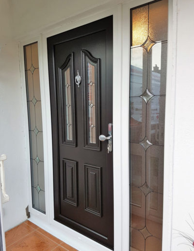 Black pvc door with the sidelights in White