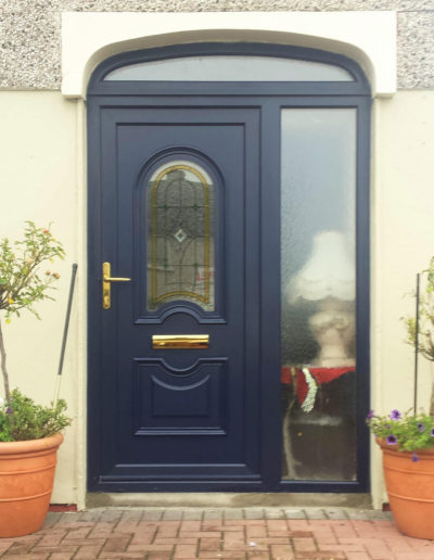 Blue pvc door with sidelight and arch