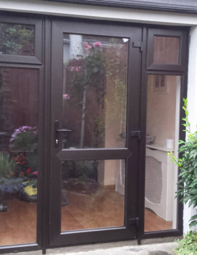 Full glass pvc door with sidelights in Black