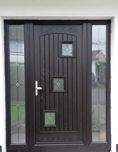 Palladio London door with 2 sidelights in Black