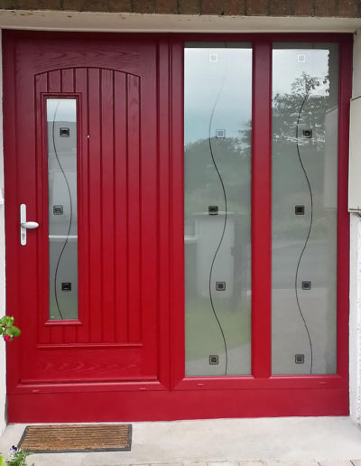 Palladio Rome door with both sidelight on 1 side in Red