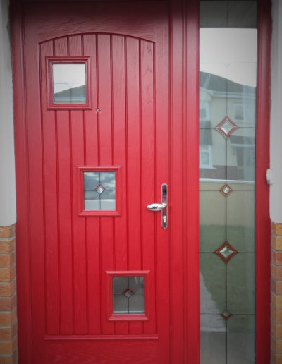 Palladio london door with sidelight in Red