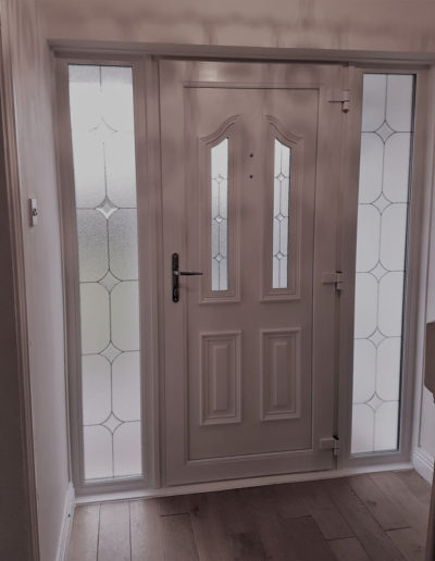 White pvc Munich door with sidelights inside view