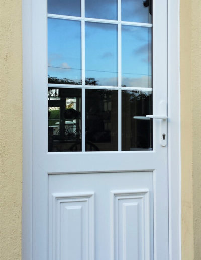 White pvc door with georgian bar