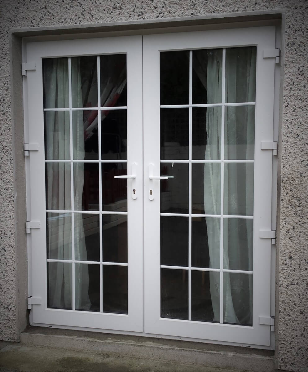 White pvc french door with georgian bar brealey windows for French pvc doors