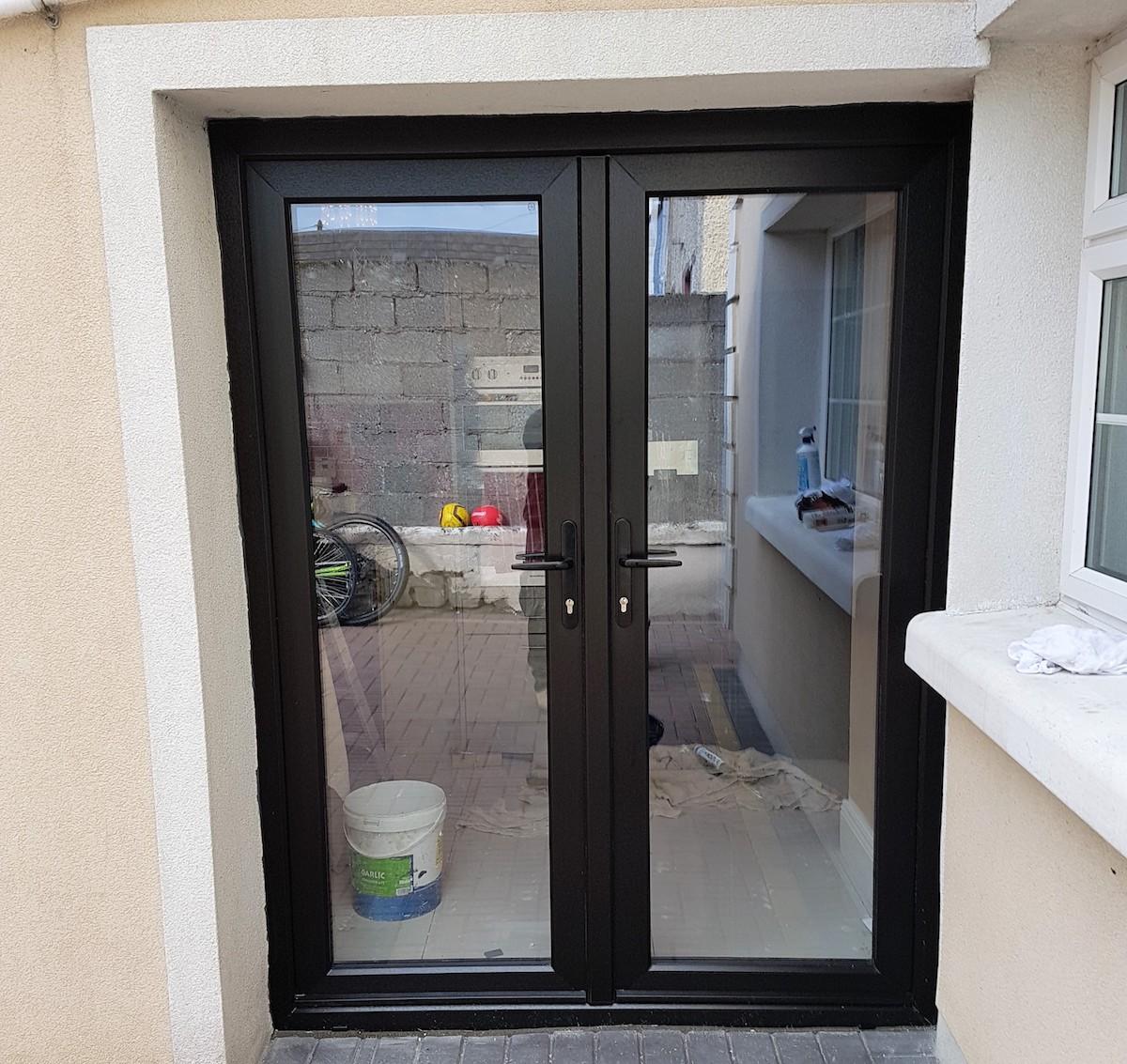 Black french door double glaze brealey windows doors ltd for Double glazed french doors