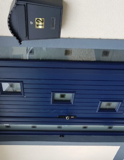 Blue Palladio door with sidelights